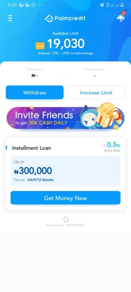 Palm credit online loan app