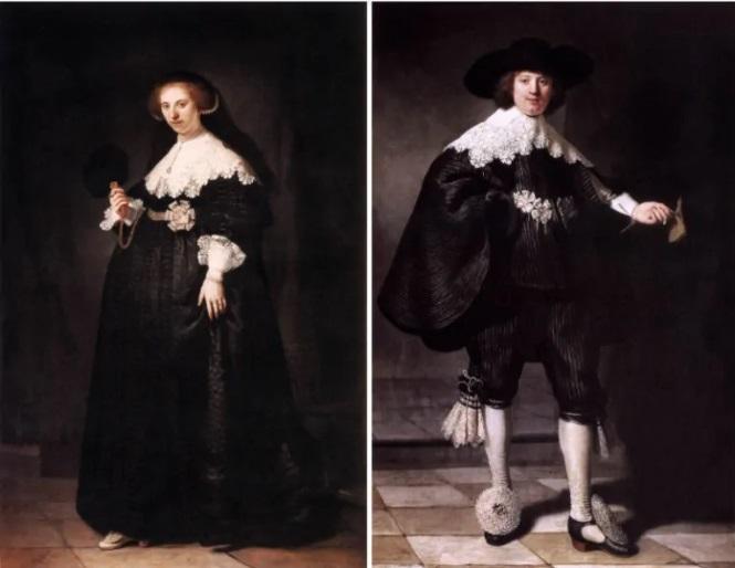 Pendant portraits of Maerten Soolmans and Oopjen Coppit – Rembrandt