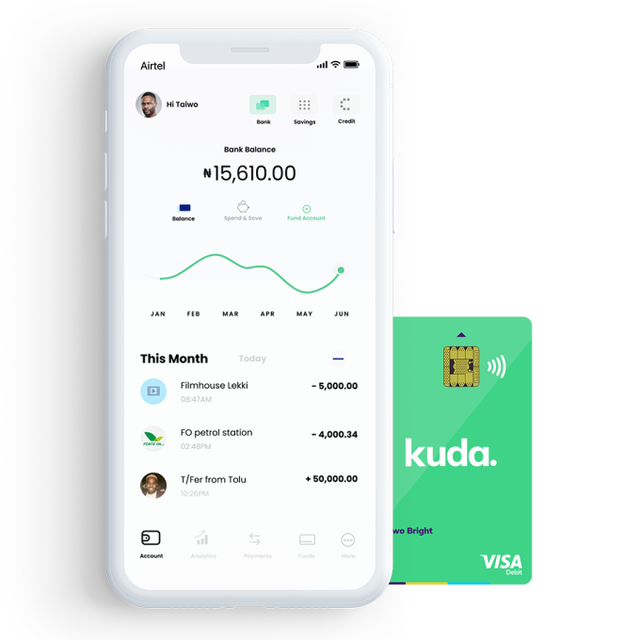 Banking With Kuda app - Account dashboard