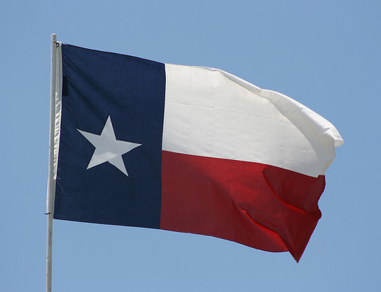Texas state flag in the USA