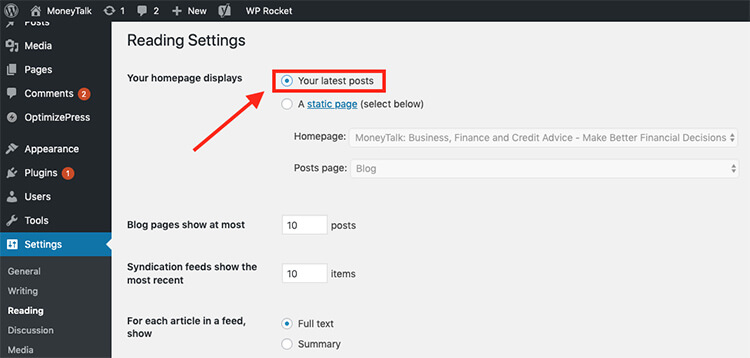 How to a WordPress blog - setting your homepage
