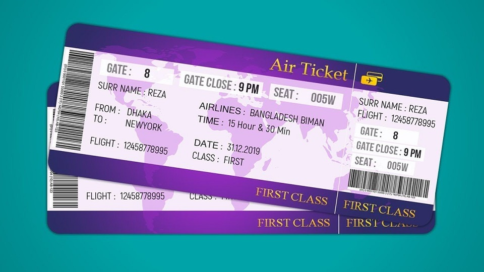 How to book a flight - Flight ticket sample