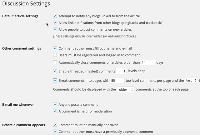 WordPress blog comment or discussion settings