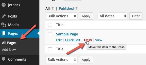 deleting default sample pages and content
