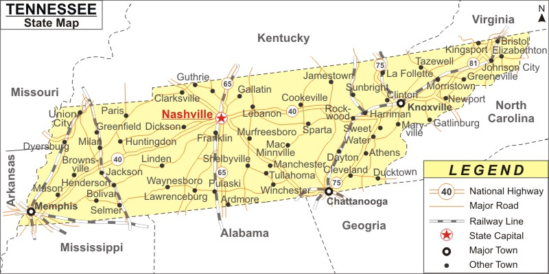 state of Tennessee map