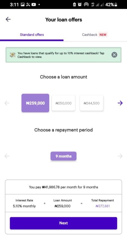 Carbon loan mobile app